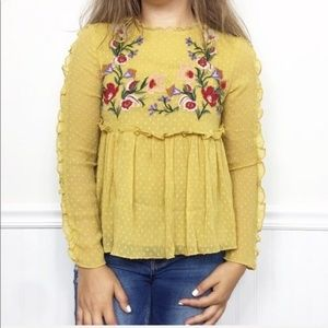 Zara | Yellow Ruffle Babydoll Embroidered Blouse